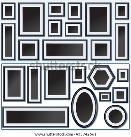 Photo Frame Design. Photo Frame. Photo Frame Vector. Picture Frame Art. Round, Square Shaped Image Frames - stock vector