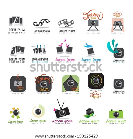 Photo Frame, Film Strip And Camera Icons Set - Isolated On White Background - Vector Illustration, Graphic Design Editable For Your Design. - stock vector