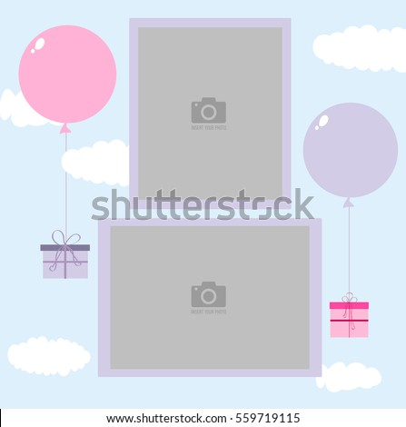Photo frame for children. Blue sky with clouds and gifts flying on balloons. Template for children's photo album or postcard.