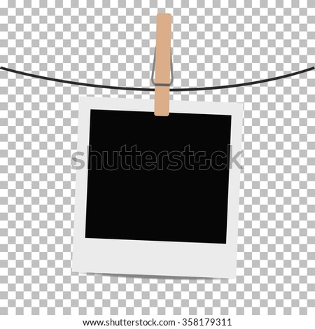 Photo frame hung on rope with clothespin on transparent background. Vector illustration. - stock vector