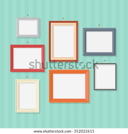 Photo frame in a flat style. Photo frame on wall. Photo frame isolated on a background. Photo frame vector illustration. Photo frames blank. Set of colored photo frames.  - stock vector