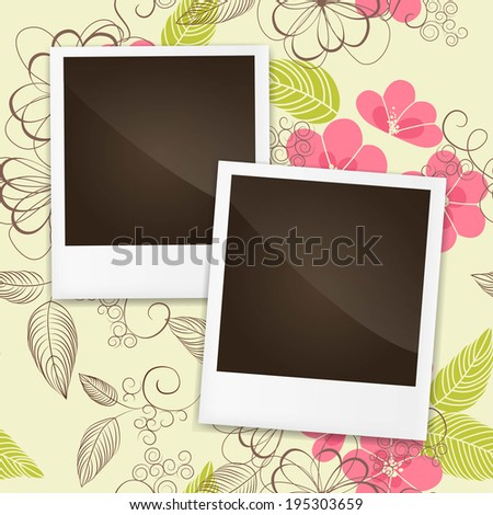 Photo frame on a colorful background The composition with the photos  on a colorful background