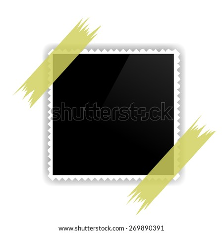 Photo Frame on White Background. Photo Frame Attached to the Wall with Adhesive Tape. - stock vector