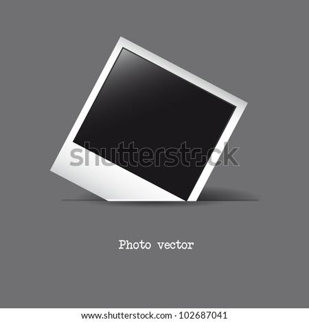photo frame over gray background. vector illustration - stock vector