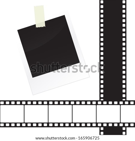 Photo frame sticker with tape and film strip frame set - stock vector