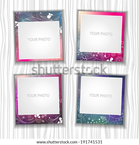 Photo frame. The composition with the photos. - stock vector