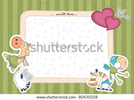 photo frame with animals green - stock vector