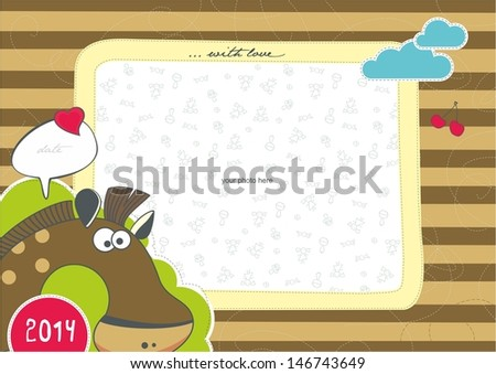 Photo frame with animals. Horse. - stock vector