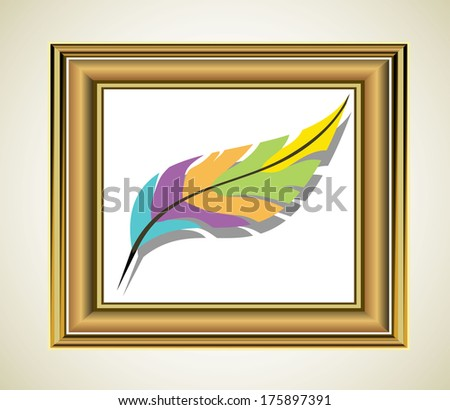Photo frame with artist's tools - stock vector