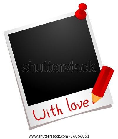 photo frame with buttons and pencil - stock vector