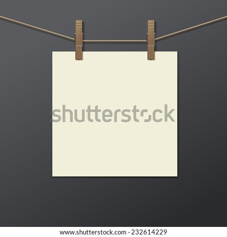 photo frame with clothespin isolated. Vector illustration. Realistic. Drying photo.