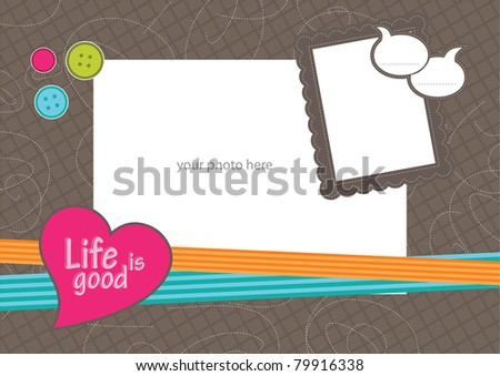 photo frame with heart - stock vector