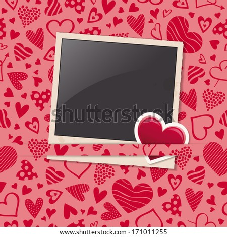photo frame with heart sticker and hearts pattern - stock vector