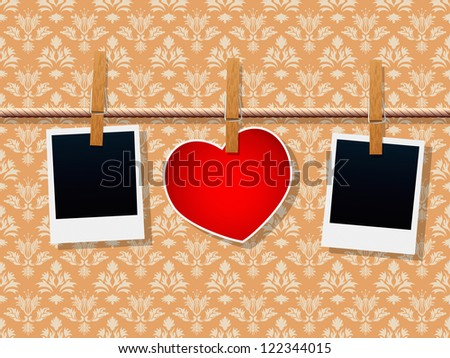 Photo Frames And Heart On Rope - stock vector