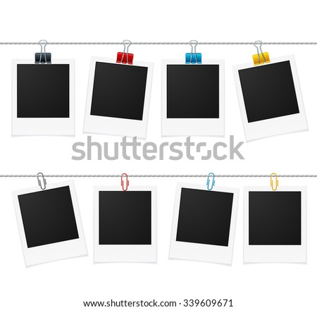Photo Frames and Pin on Rope. Vector illustration - stock vector