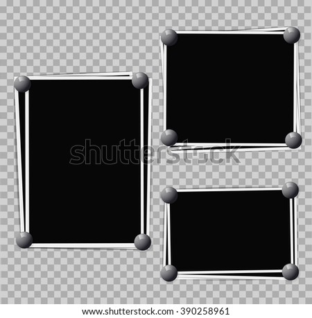 Photo frames composition with pins on transparent background. Vector design template - stock vector