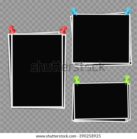 Photo frames composition with pushpins on transparent background. Vector design template - stock vector