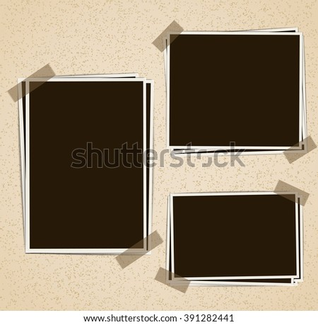 Photo frames composition with tape on retro background. Vector design template