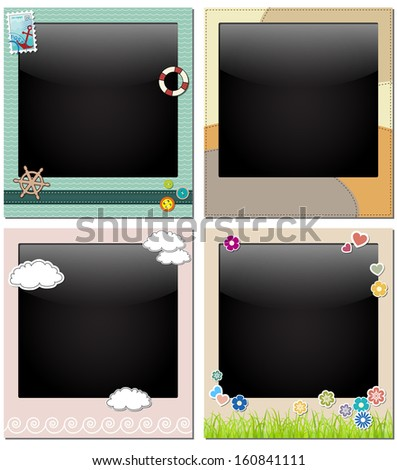 photo frames decorated - stock vector