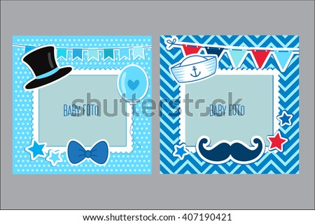 Photo Frames For Kids. Decorative Template For Baby Boy. Scrapbook Vector Illustration. Baby Boy Photo Framework. Photo Frames Collage For Boy. Postcard Frame, Child Album. - stock vector
