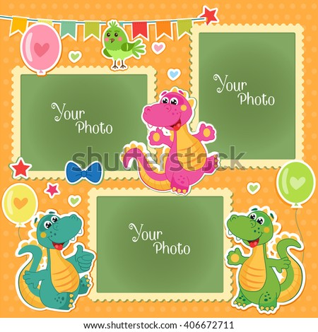 Photo Frames For Kids With Dinosaurs. Decorative Template For Baby, Family Or Memories Scrapbook Vector Illustration. Birthday Children's Photo Framework.