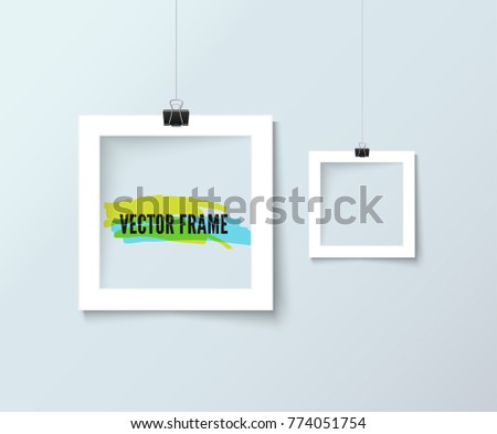 Photo Frames Hanging On Line Paper Stock Photo (Photo, Vector ...