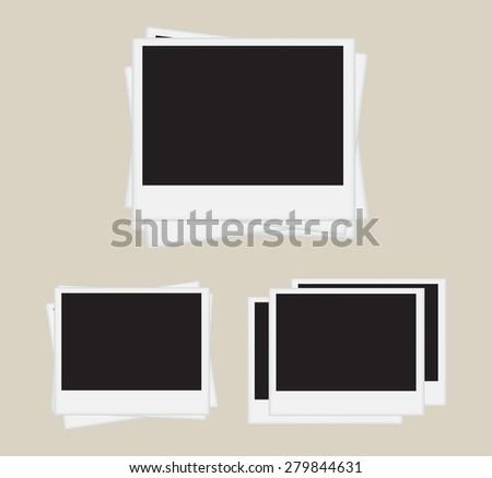 Photo frames isolated on white background.Polaroid photo frames.Vector illustration. - stock vector