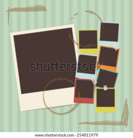 photo frames on green retro background - stock vector