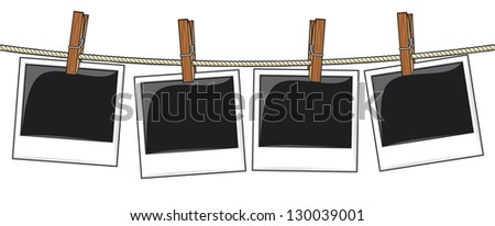 photo frames on rope (old photo frames hanging on rope) - stock vector