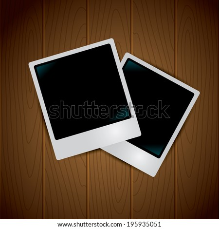 Photo frames on the Wooden Background - stock vector