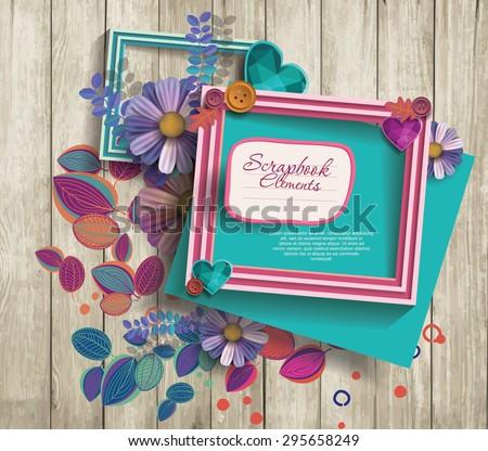photo frames & scrapbook elements - stock vector