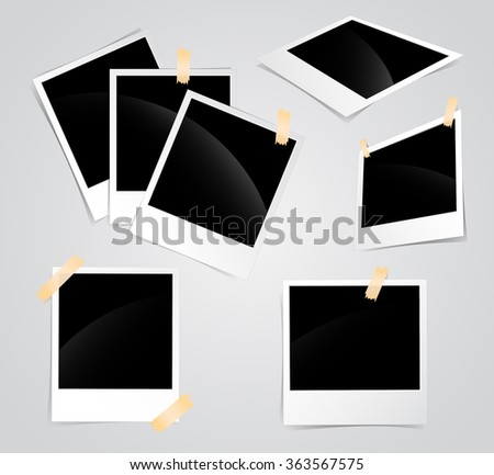 Photo frames set glued to the tape - stock vector