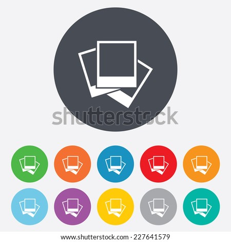 Photo frames template sign icon. Empty photography symbol. Round colourful 11 buttons. Vector - stock vector