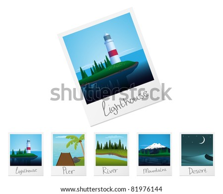 Photo frames with detailed nature landscapes. Set 2. Vector illustration. - stock vector