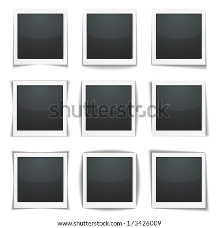 Photo frames with different shadows, vector eps10 illustration - stock vector