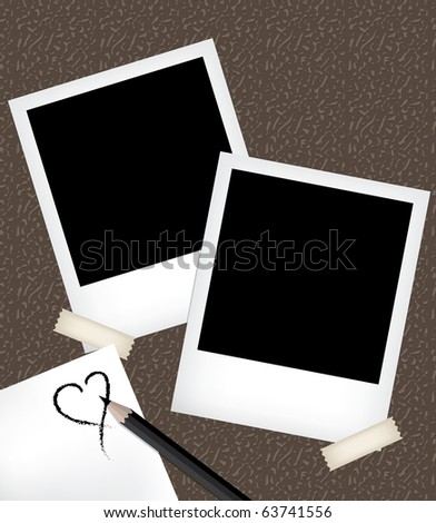 Photo frames with notepad - stock vector
