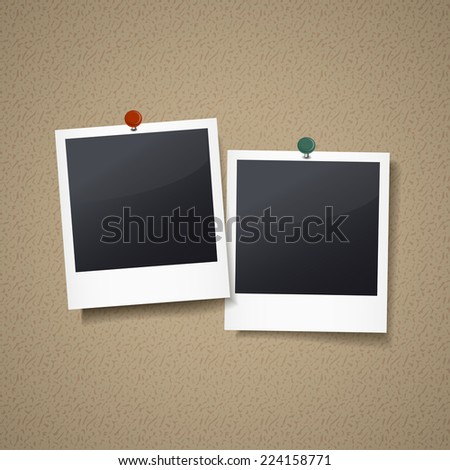 photo frames with pin isolated on corkboard - stock vector