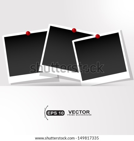 Photo frames with push pins presentation - stock vector