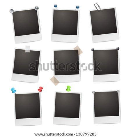 Photo frames with pushpins, paperclips and tape - stock vector