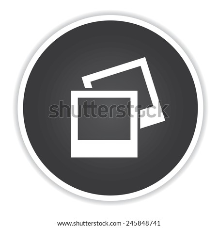 Photo icon on black button background,clean vector - stock vector
