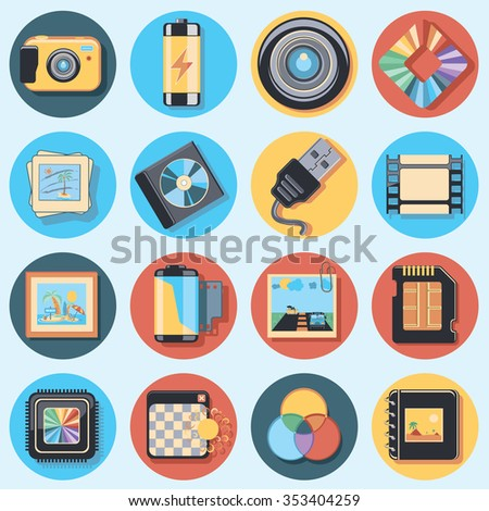 photo icon set - stock vector