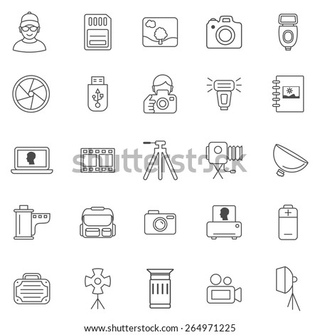 Photo line icons set.Vector - stock vector