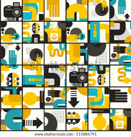 Photo man seamless pattern. Abstract vector illustration of photographer monster. - stock vector