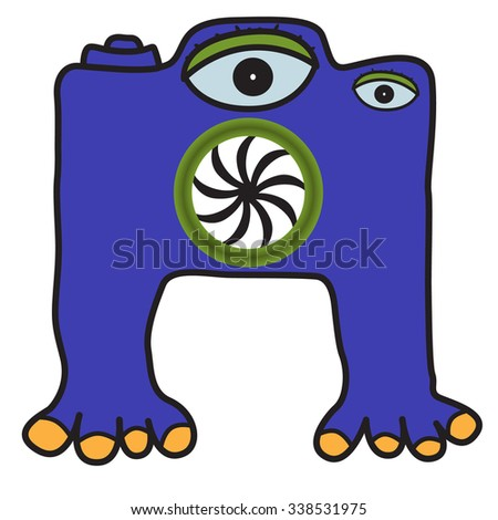 Photo Monster. Doodle. Vector Image. - stock vector