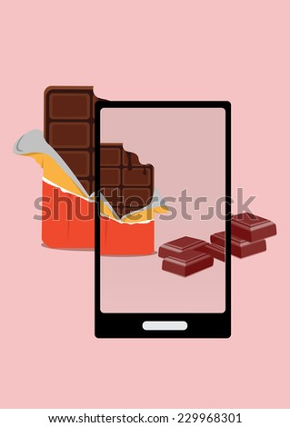 photo of bite chocolate and chocolate pieces with smartphone. vector illustration  - stock vector