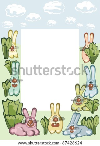 Photo or message frame with hares. Vector illustration - stock vector