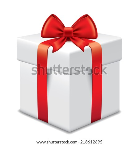 Photo-realistic gift box with red bow and ribbons