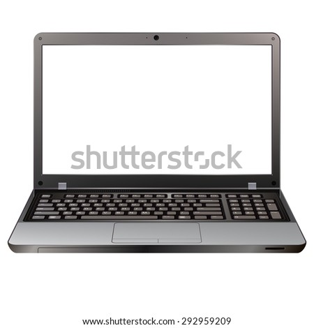 photo realistic laptop front view with blank screen isolated on white background - stock vector