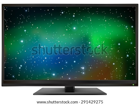 photo realistic led monitor isolated on white background vector illustration - stock vector