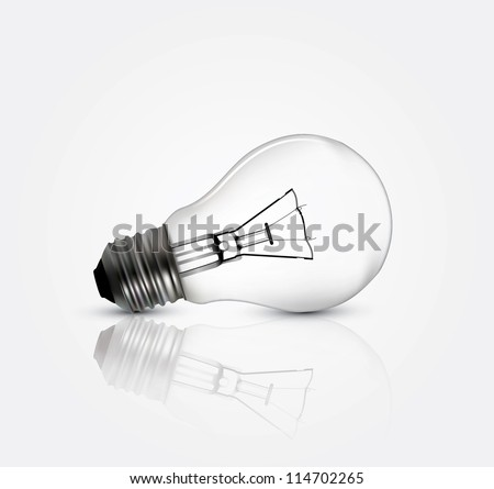 Photo realistic lightbulb in editable vector format